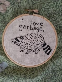 FOUR INCH BAND I love garbage raccoon trash animal cross stitch embroidery four inch ribbon, . - FOUR INCH RIBBON I love garbage raccoon trash animal cross stitch embroidery four inch ribbon, - Learn Embroidery, Hand Embroidery Stitches, Hand Embroidery Designs, Embroidery Techniques, Embroidery Art, Cross Stitch Embroidery, Cross Stitch Patterns, Machine Embroidery, Modern Embroidery