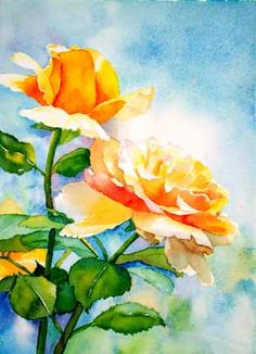 """""""Sunlit Rose"""" by Ursula Rodrigues - watercolor 10"""" x 14"""""""