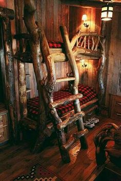rustic bunk beds with ladder would love this look in the bunk house! Cool Bunk Beds, Kids Bunk Beds, Loft Beds, Cabin Bunk Beds, Cabin Homes, Log Homes, Rustic Bunk Beds, Rustic Bed, Bedroom Rustic