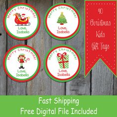 40 Round Kids Christmas Gift Tags  Personalized by OhBabyStickers
