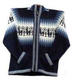 Unisex blaue Kapuzen #Strickjacke #Alpakawolle Inka Design