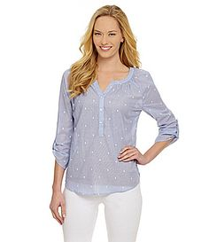 Westbound Dotted Peasant Top #Dillards