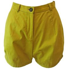 Preowned Chartreuse Cotton Twill Mini Shorts ($222) ❤ liked on Polyvore featuring shorts, brown, hot pants, zipper shorts, hot short shorts, brown short shorts and mini shorts