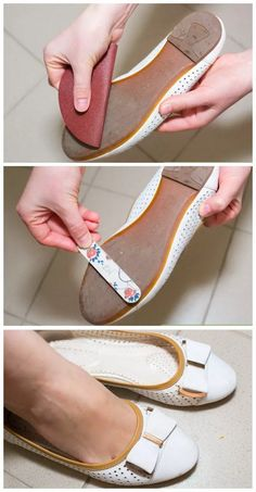 Rub the bottoms of plastic or leather shoes with some sandpaper or a nail file  to create texture and traction and make your shoes less slippery.