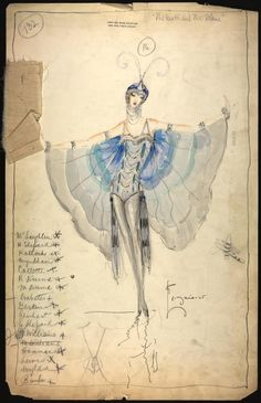 Charles Le Maire costume design for the Greenwich Village follies and Costume designers are brilliant artists who inspire me. There's something about the fluid movement of enchanting fabric art that makes me want to tell a story. Art And Illustration, Fashion Illustration Vintage, Fashion Illustrations, Theatre Costumes, Ballet Costumes, Vintage Fairies, Vintage Art, Cabaret, Cosplay