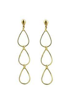 Gold Triple Teardrop Post Earrings by IsabellaRaeJewelry on Etsy