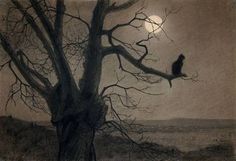 moon cat  tree picture s blessings | art, beautiful, cat, cat in a tree, moon - inspiring picture on Favim ...