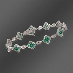 Gregg Ruth 2.95 ct. t.w. Emerald and 1.26 ct. t.w. Diamond Floral Link Bracelet in 18kt White Gold. 7""