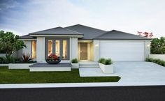 Splendid Modern elevation with rendered facade, gable planking and Colorbond roof The post Modern elevation with rendered facade, gable planking and Colorbond roof… appeared first on Home De . Modern Exterior, Exterior Design, Colorbond Roof, Rendered Houses, Facade House, House Facades, Bungalows, House Front, Modern House Design