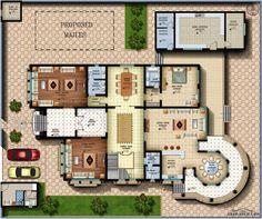 مخطط الفيلا رقم التصميم I2 من مبادرة بيتى 900 متر مربع 6 غرف نوم My House Plans, Modern House Plans, Building Design, Building A House, Circle House, Arabic Decor, Classic House Design, Architectural House Plans, Villa Plan