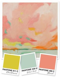 Mint and coral paired with chartreuse make for a fun twist on traditional beachy color palette.