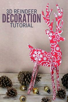 You can make a fun 3D Reindeer Decoration to add to your holiday decor using your Cricut Explore Air. Click here for the tutorial. #thecraftyblogstalker #reindeerdecoration #christmasdecor #cricutchristmas #createdcreated #cricutmade #reindeercrafts Diy Christmas Reindeer, Christmas Yard, Christmas Sewing, All Things Christmas, Christmas Crafts, Christmas Ornaments, Xmas, Reindeer Decorations, Christmas Decorations
