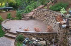 The 2 Minute Gardener: Photo - Tumbled Paver Patio with Stone Veneer Covered Retaining Wall Concrete Patios, Flagstone Patio, Brick Patios, Terraced Backyard, Backyard Patio, Stone Retaining Wall, Landscaping Retaining Walls, Outdoor Stone, Backyard Makeover