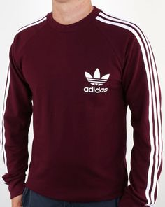 Adidas Originals Long Sleeve Pique T Shirt Maroon,tee,mens,cotton Addidas Shirts, Adidas Hoodie Mens, Adidas Men, Mens Adidas Outfit, Maroon Shirt Mens, Adidas Originals, Adidas Retro, Mens Sweatshirts, Sweater Hoodie