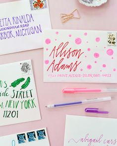 DIY Colorful Envelope Address Ideas with Sakura of America Glaze and Soufflé Pens / Oh So Beautiful Paper Mail Art Envelopes, Cute Envelopes, Decorated Envelopes, Envelope Lettering, Envelope Art, Envelope Design, Pen Pal Letters, Cute Letters, Cute Envelope Addressing