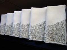 Madeira Linen Napkins Set of Six Vintage by NettiesCollectibles