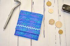 Blue pouch gadget bag fabric wallet card holder coin