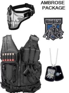 Dean Ambrose shield vest mask dog tags and patch package Dean Ambrose Shield, Wrestling Outfits, Wwe Wrestlers, Superstar, Dog Tags, Naruto, Auction, Shops, Vest