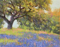 """""""Roadside Oak and Bonnets"""" - Original fine art for sale - © David Forks"""