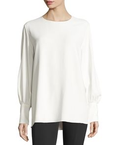 The Row Mireu Bishop-sleeve Blouse, Ivory Diy Tops, Bishop Sleeve, Neiman Marcus, The Row, Ivory, Tunic Tops, Style Inspiration, Pullover, Clothes