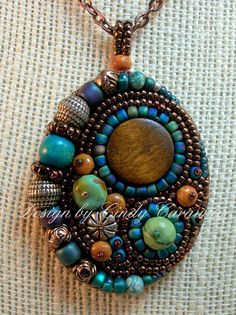 Pingente - WAY OUT WEST - Bead Embroidery Pendant in Southwest Colors -beautiful