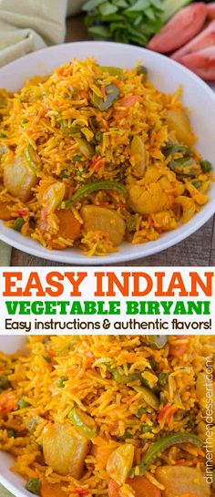 Easy Vegetable Biryani - Dinner, then Dessert Vegetable Biryani Is A Bold And Flavorful Indian Rice Dish With Bell Peppers, Peas, Carrots And Potatoes In A Spiced Rice Dish Made With Turmeric, Garam Masala And Other Warm Spices. Tasty Vegetarian Recipes, Vegetarian Dinners, Curry Recipes, Veggie Recipes, Asian Recipes, Whole Food Recipes, Cooking Recipes, Healthy Recipes, Indian Vegetable Recipes