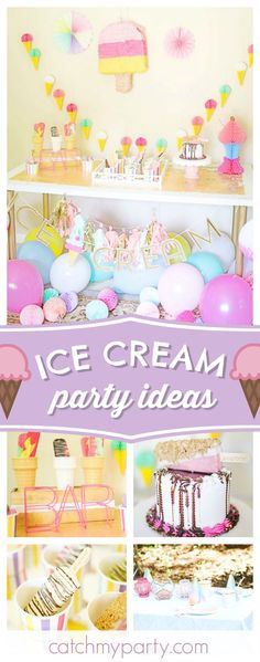 Ice Cream Pop Summer Bar! The birthday cake is absolutely gorgeous!! See more party ideas and share yours at CatchMyParty.com #icecream #birthdayparty