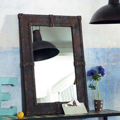 Houten EXPO spiegel met metaaleffect H 90 cm