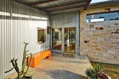 Walkabout residence, facade, Local Roots, Cedar Park, Texas, Nick Deaver, porch - like the galvanized metal and limestone contrast