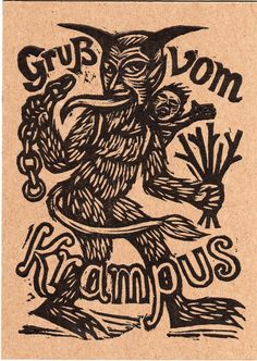 Hand Printed, Hand Pressed Krampus Postcard Text reads Greetings from The Krampus. Front printed with a hand carved Krampus linocut and verso printed with lead type on heavyweight chipboard. Printed on an 1909 Chandler & Price Letterpress. German Christmas Traditions, Retro Christmas Decorations, Demonology, Les Sentiments, Nightmare Before Christmas, Letterpress, Printmaking, Devil, Hand Carved