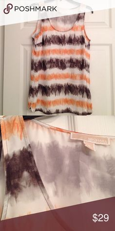 MICHAEL KORS TIE DYE EFFECT BLOUSE Wonderful Michael Kors top in cream polyester with a tie dye pattern in chocolate brown and muted orange. A great top over sleek trousers. In excellent condition. Michael Kors Tops