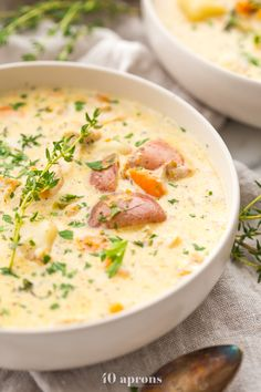 Instant Pot Healthy Chicken Pot Pie Soup – 40 Aprons by Paleo Soup, Healthy Soup Recipes, Real Food Recipes, Whole30 Soup Recipes, Paleo Vegan, Healthy Food, Clean Eating Soup, Clean Eating Recipes, Dinner Ideas