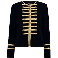 Boohoo Daisy Boutique Military Velvet Jacket (4.945 RUB) ❤ liked on Polyvore featuring outerwear, jackets and duster coat