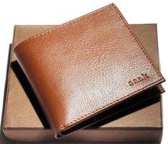 Men's Hipster Slim Full Grain Nappa Leather Bifold Wallet