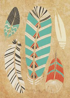 Tribal Feather Art Print 5 x 7 >> Etsy  courtneyoquist