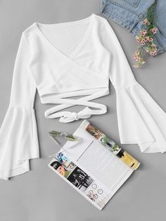 To find out about the Flounce Sleeve Wrap Tie Crop Top at SHEIN, part of our latest Blouses ready to shop online today! Girls Fashion Clothes, Teen Fashion Outfits, Classy Outfits, Chic Outfits, Womens Fashion, Work Outfits, Fall Fashion, High Fashion, Fashion Dresses
