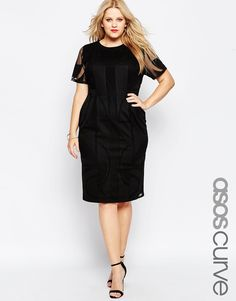 Image 1 ofASOS CURVE Wiggle Dress in Geo Lace