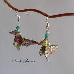Boucles d'oreilles origami cocottes liberty margaret annie sauge.