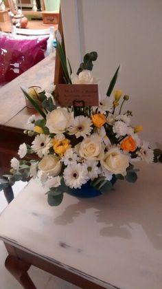 Cream and yellow formal arrangement
