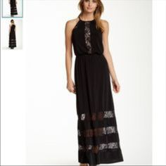 Black Maggy London Maxi Dress With Lace Trim.