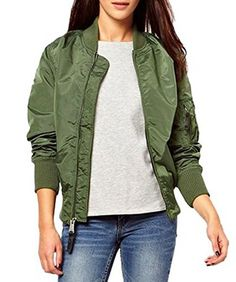 Kearia Women Classic Short Padded Bomber Jacket Coat Quilted Jacket Outerwear Army Green Small