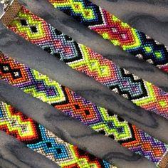 Neon Tribal Friendship Bracelets with Clasps by MichikoJewelry