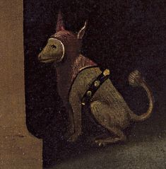 Detail of The Conjurer (+/- by Hieronymus Bosch.  53 cm × 65 cm in × 26 in), oil on wood  Musée Municipal in Saint-Germain-en-Laye. Hieronymus Bosch, Saint Germain, Little Dogs, The Conjuring, Art Day, Insta Art, Scooby Doo, Medieval, Moose Art