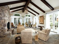 cute living room with vaulted ceiling