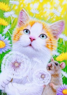 DANDELION DAYS - Lightning and his little friend have discovered the fun of blowing on dandelion seeds! Beautiful Cats, Animals Beautiful, Cute Animals, Animal Paintings, Animal Drawings, White Tabby Cat, Spring Painting, Painting Art, Painting Flowers