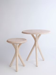 TWIG - joa-herrenknecht.com the wood base is able to be combined with different tops  (cushions for the stool, marble top for the table and stained in different colors on demand)
