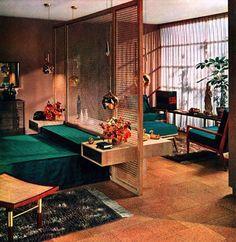 screen room divider, brass pendants and cork floor