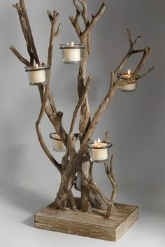 30 Decoration Ideas with Wood Pieces - New Deko Sites Driftwood Furniture, Driftwood Projects, Driftwood Art, Driftwood Ideas, Save On Crafts, Diy And Crafts, Twig Crafts, Furniture Makeover, Diy Furniture