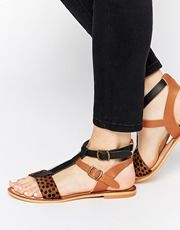London Rebel Maize Leather Gladiator Flat Sandals