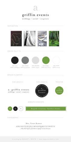 A. Griffin Events Brand Board | Branding | Logo Design   Aimee Griffin is the owner behind A. Griffin Events, a wedding, social, and corporate event planning company based outside of Washington, DC. I was so excited when she chose me to design her new brand!